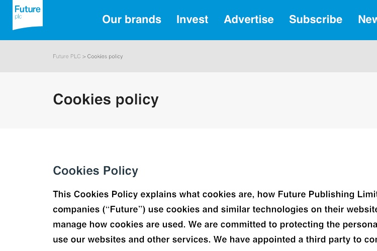 screenshot of future cookies policy