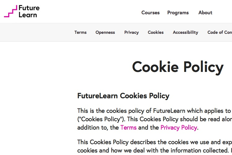 Screenshot of FutureLearn Cookie Policy