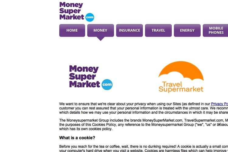 Screenshot of MoneySuperMarket