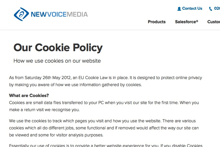 Screenshot of NewVoiceMedia Cookies Policy