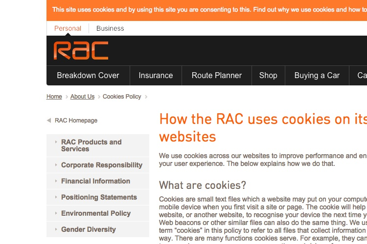 Screenshot of RAC Cookie Policy