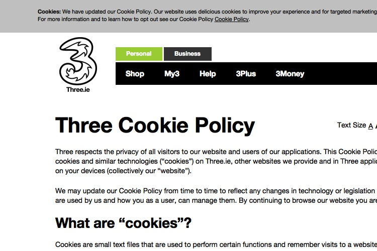 screenshot of three cookie policy