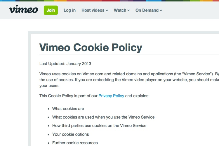 screenshot of vimeo cookie policy